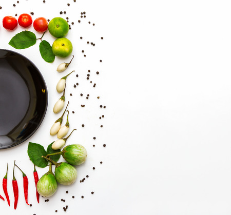 Vegetables for health on white background.