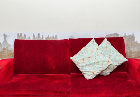 red sofa: Red velvet sofa.