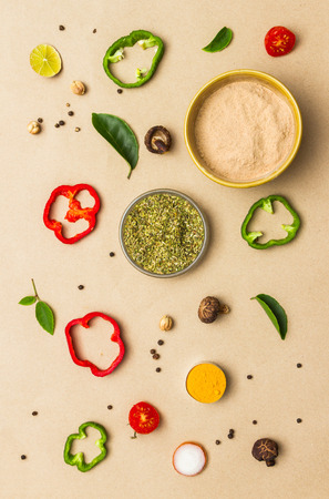 Food for spices on brown paper background