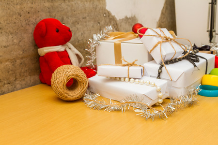 dacorated: Christmas with gifts on background.