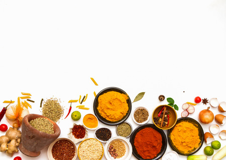 spices for food on red background.