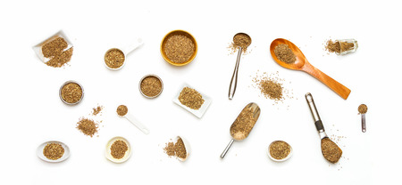 cumin: Cumin seeds on white background. Stock Photo