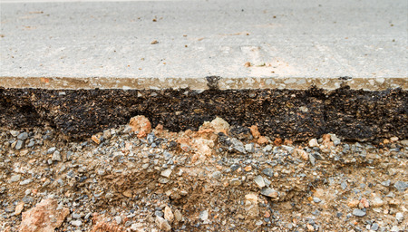 Damaged asphalt on the road background.