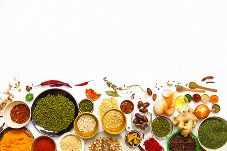 Spices and grain for health on white background. Stockfoto