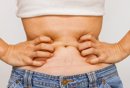 stomach acid: Women with problems stomach ache on white background.