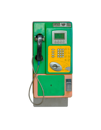 payphone: Payphone on the wall on white isolate background with clipping path. Stock Photo