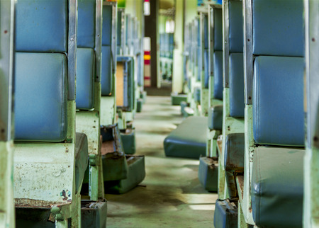 antiqued: Interior of an empty antiqued train cabin in Thailand background. Stock Photo