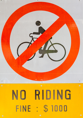 prohibiting: Prohibiting signs no-bikes on the overpass white isolated background.