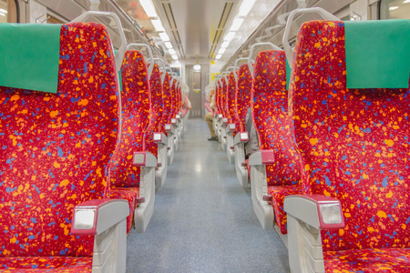 trial indoor: Train interior seat for travel on background.
