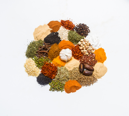 spicy food: Spices for heath and cooking on background.