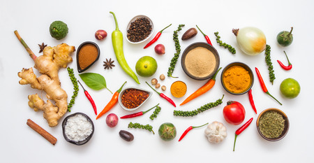 Spices for herb and cooking on white background.