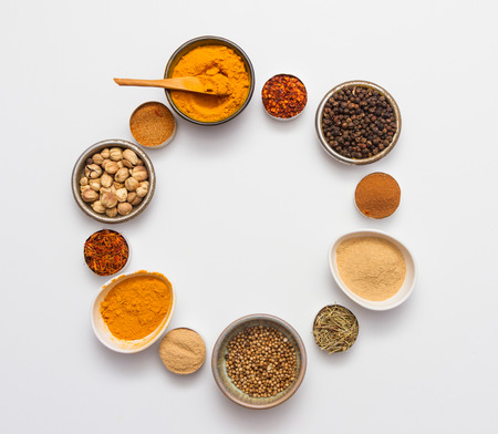 curry spices: Spices for herb and cooking on white background.