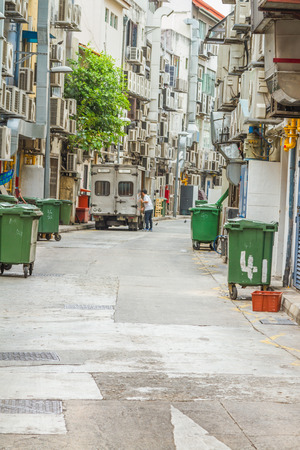 Looking down lifestyle inner city alleyway