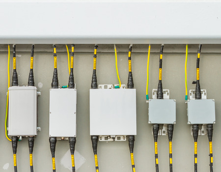 meter box: Main circuit box breaker in factory.