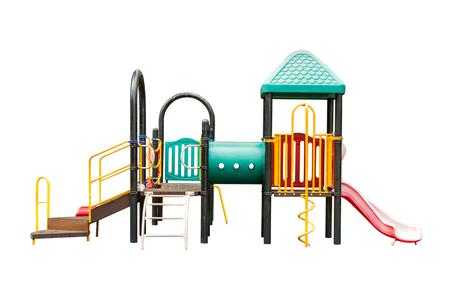 playground children: patio de los ni�os en el fondo blanco aislado Foto de archivo