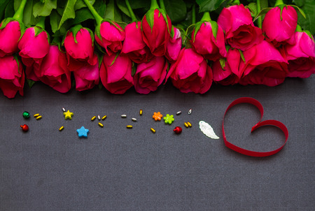 Valentines day background with hearts on background. Stock Photo