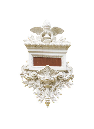 pilasters: Detail of Corinthian column on white isolated background