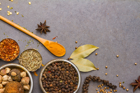 spices and herbs: Spices for heath and cooking on background.