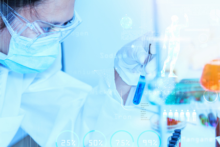 medical lighting: Scientist with laboratory background and concept. Stock Photo