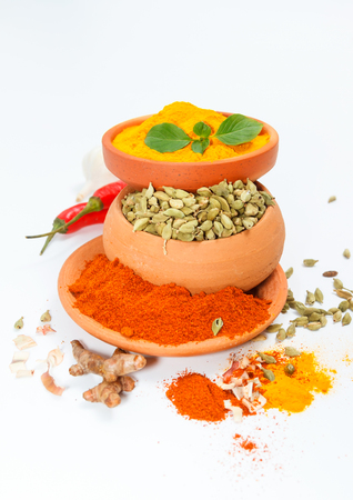 peppery: Spices and herbs on white background for decorate spices content,indian spices in terracotta pots, indian colourful spices,group of indian spices,Spices arranged in different size terracotta pots Stock Photo