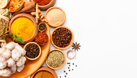 peppery: Spices for herb and cooking on white background,Top view spices on white background,indian spices for making something food on the world,spices content,Various kinds of spices on white background Stock Photo