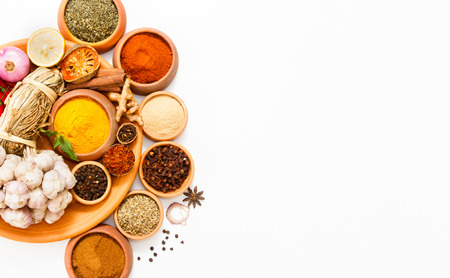 Spices for herb and cooking on white background,Top view spices on white background,indian spices for making something food on the world,spices content,Various kinds of spices on white background Stock Photo