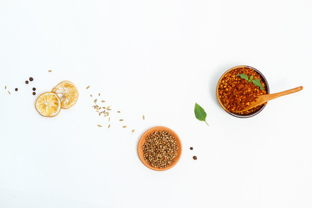 photography background: Spices and herb for cooking or decorate and design,The  spics and herbs on white background,spices content,spices background,Group of indian spices on white background with copy space.
