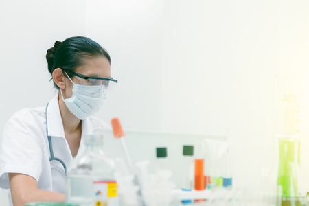 certain: (SCIENCE) Scientist are certain activities on experimental science like mixing chemicals, entry data to develop science medicine or food for everyone on the world and selective focus.