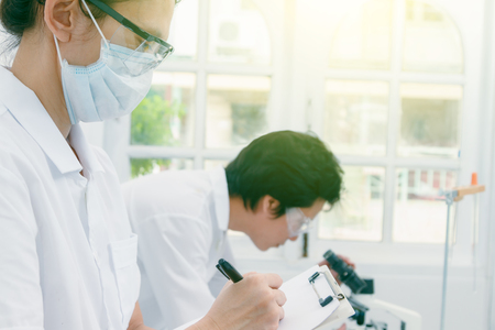 certain: (SCIENCE) Scientists are certain activities on experimental science like mixing chemicals, microscope, entry data to develop science medicine or food for everyone on the world