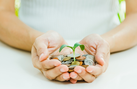 richer: Handful of coins in palm hands,Businessman holding plant sprouting from a handful of coins,finance concept,business background and selective focus.