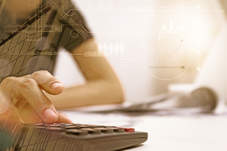 Double exposure of recheck document or planing data for business market target and about accounting staff recheck data before approve document, business concept and copy space, mock up. Stock Photo