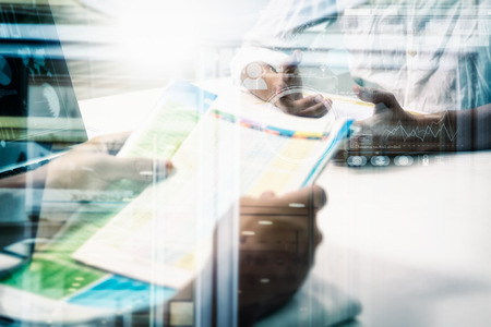 data management: Double exposure of business people meeting to discuss the situation on the marketing, businessman and businesswoman talk about meeting subject on data and business concept, copy space, mock up. Stock Photo