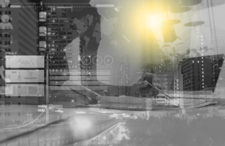 data management: Double exposure of business people prepare and reading for documents and graph business diagram, film effect and business concept, copy space, mock up. Stock Photo