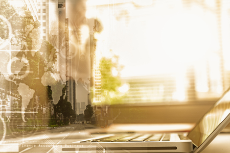 day light: Double exposure of business woman drinking coffee near window, film effect, copy space.