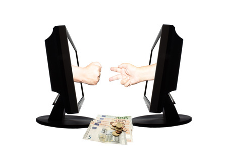Virtual game by internet hand shape of scissors stone on white background with money euro banknotes and coins - internet business concept. Stock Photo