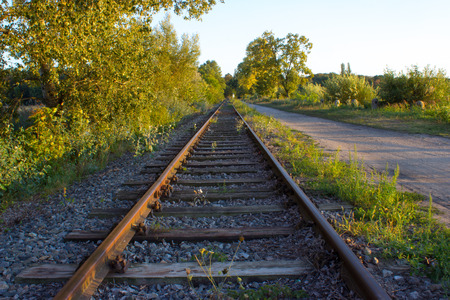 In the foreground are trees and bushes. Railroad tracks are lighted by sunset. They are running behind the horizon. Beside the track is the path. In the background is the blue sky. Stock Photo