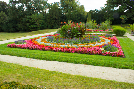Chateau park Lednice with flowers and trees.