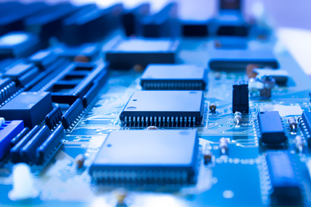 On board are capacitors resistors, slots, integrated circuits, diodes, microprocessor.