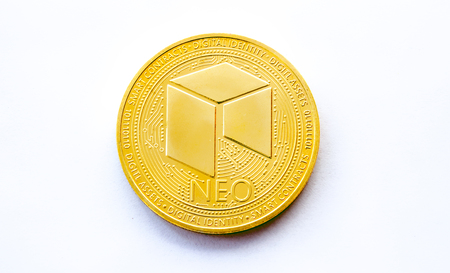 On a white background is isolated gold coin of a digital crypto  currency - neo with free space for text. The front side of the gold coin neo. Banco de Imagens