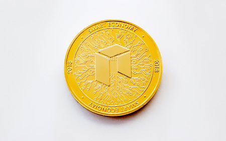 On a white background is isolated gold coin of a digital crypto  currency - neo with free space for text. The back side of the gold coin neo.