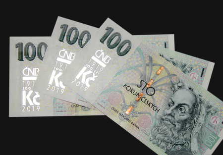 The Central Bank issued new one hunderd banknote on a black background.