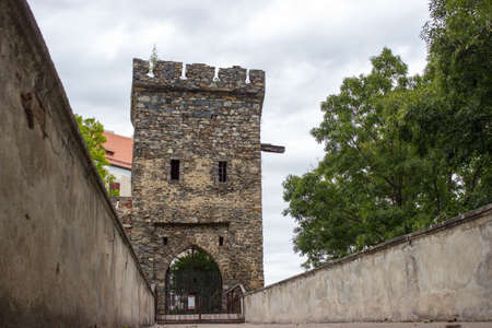 Entrance across the bridge to the gate with the tower of the castle Bitov, cultural monument, the Czech Republic 新闻类图片