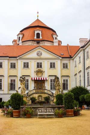 The castle courtyard Vranov nad Dyji in the Czech Republic, Vranov dam, Dyje
