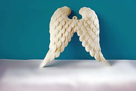 Angel wings on a blue background