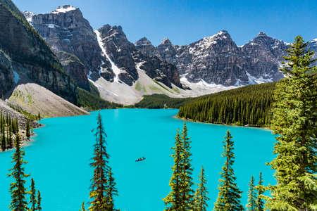 Canoe on the Moraine Lake in Banff National Park, Alberta, Canada