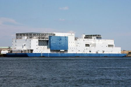 NYC Prison Barge in the East River Bronx New York across from Rikers Island Penitentiary