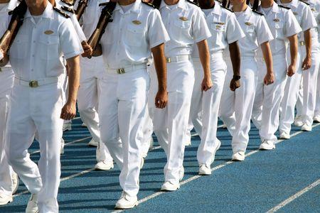 marinero: Guardias Marinas de la Academia de la Marina Mercante EE.UU. pasar revista.