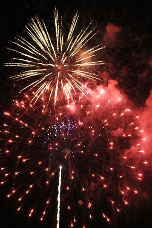 Colorful bursting fireworks against a black night sky