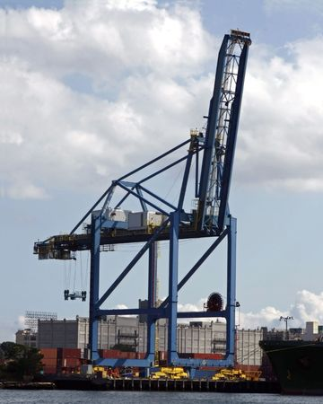Gantry crane for handling shipping containers.