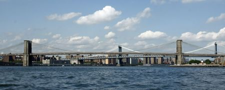 Panorama of the Brooklyn and Manhattan Bridges from the East River in New York City.